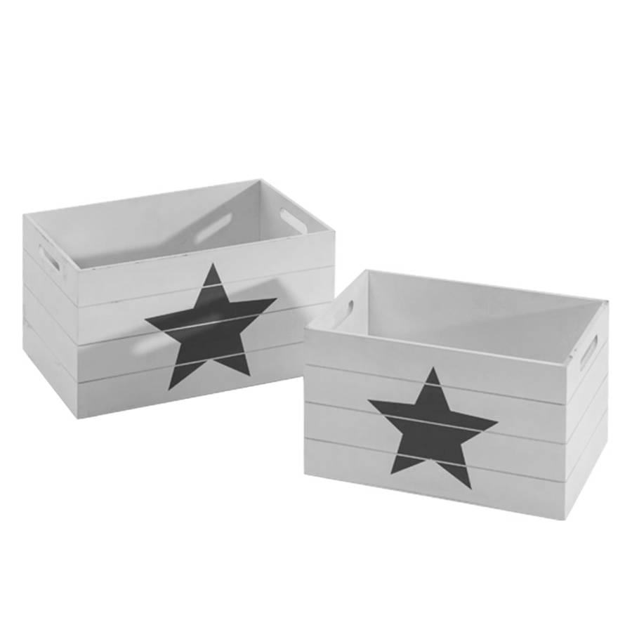aufbewahrungskisten set stern 2 teilig mdf. Black Bedroom Furniture Sets. Home Design Ideas