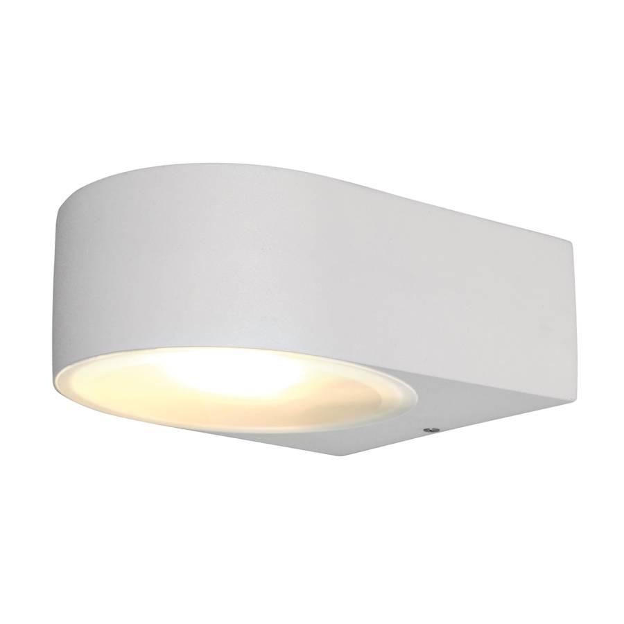 applique murale d 39 ext rieur rounded 1 ampoule blanc aluminium. Black Bedroom Furniture Sets. Home Design Ideas