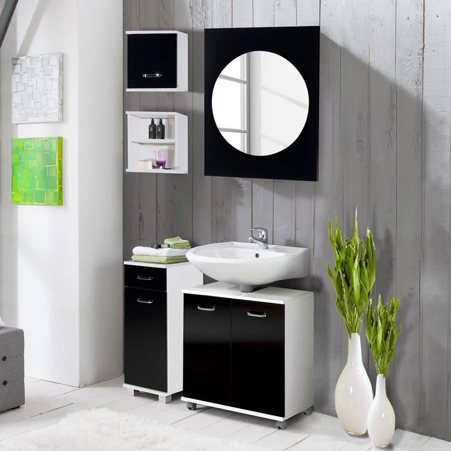 Ensemble de salle bain asti 5 l ments blanc noir for Element de salle de bain 5 lettres