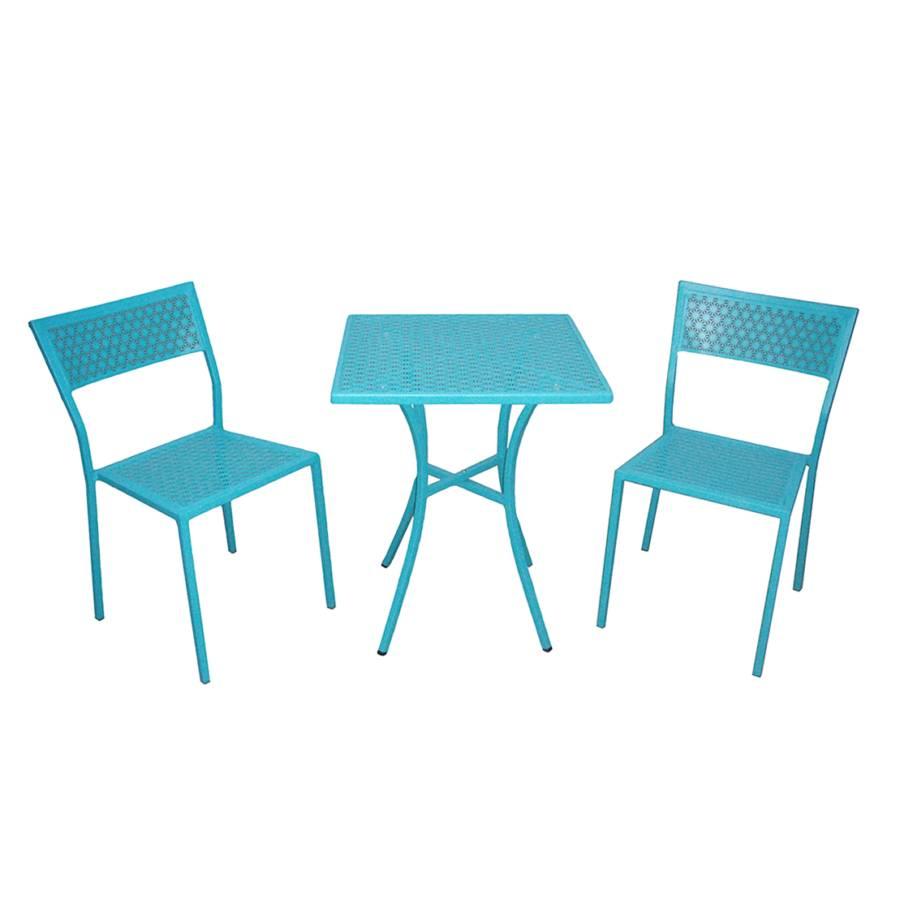 ensemble de mobilier de balcon pini 3 l ments acier. Black Bedroom Furniture Sets. Home Design Ideas