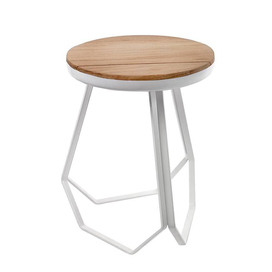 hocker studio massivholz eiche metall wei home24. Black Bedroom Furniture Sets. Home Design Ideas