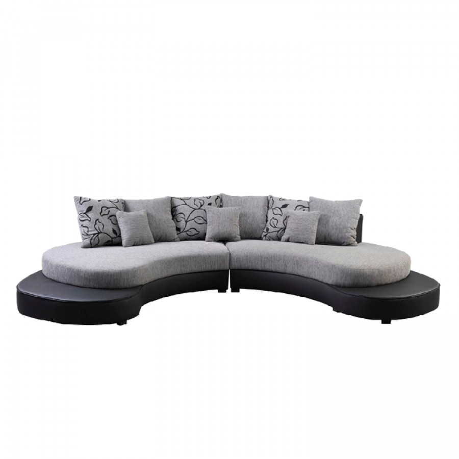 sofa bari strukturstoff schwarz silber home24. Black Bedroom Furniture Sets. Home Design Ideas