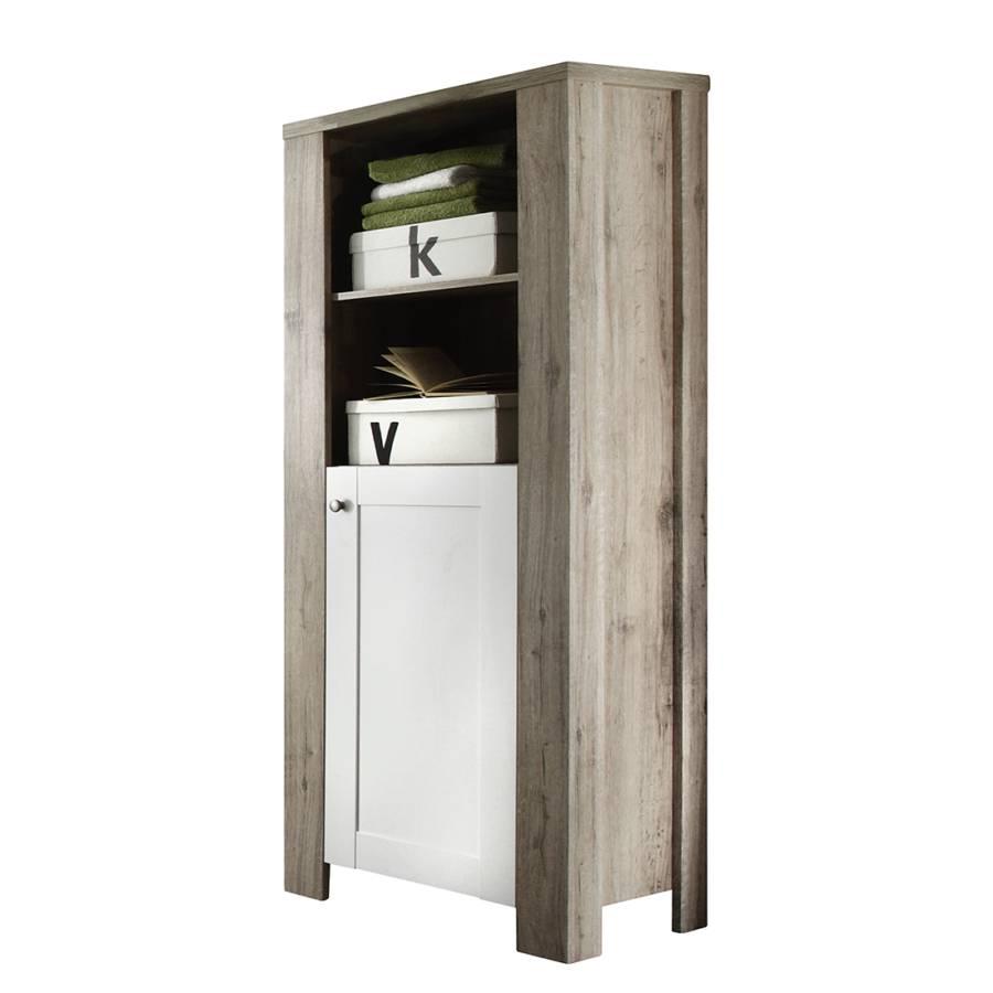 armoire d 39 appoint lito blanc imitation ch ne de san remo. Black Bedroom Furniture Sets. Home Design Ideas