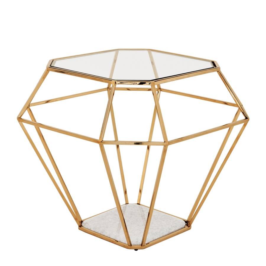 Beistelltisch Asscher - Stahl / Marmor / Glas  Home24