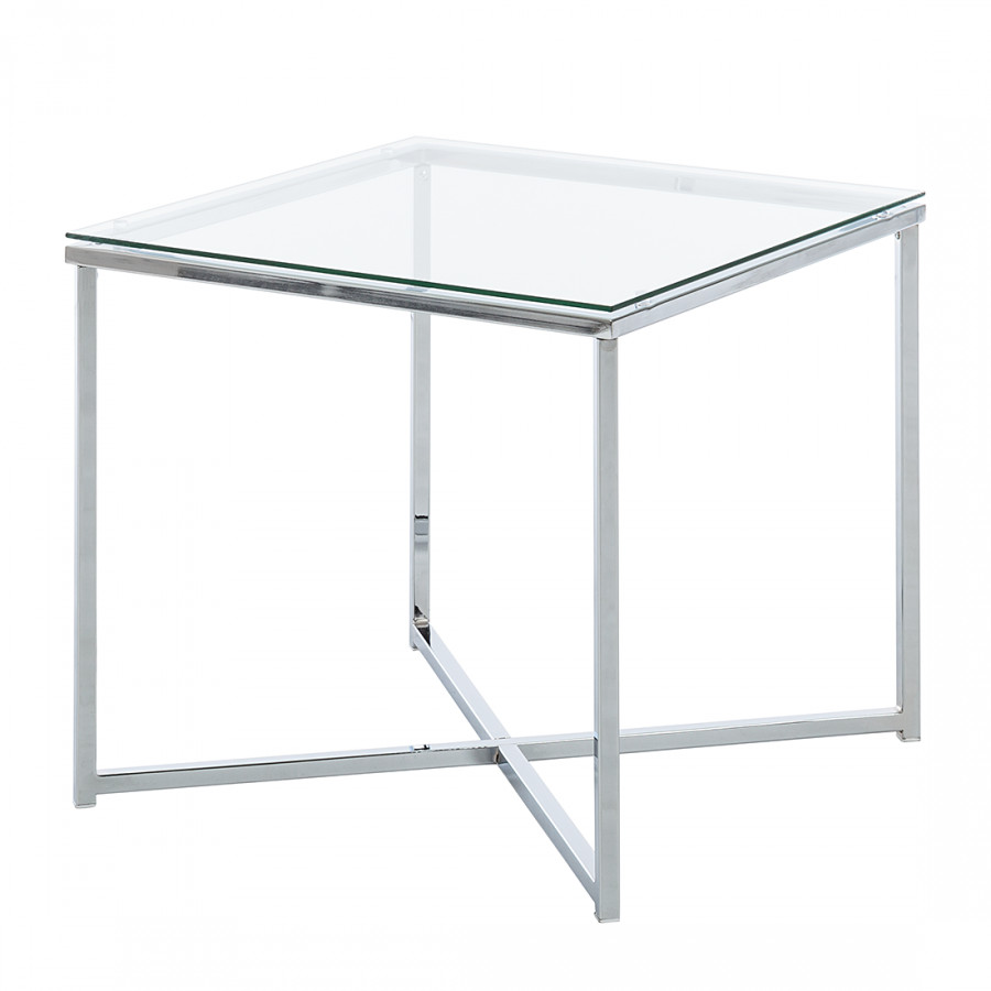Table d 39 appoint cross verre clair carr e - Table carree verre ...