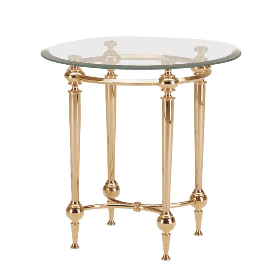 Beistelltisch gloria glas edelstahl klar vergoldet for Beistelltisch glas edelstahl