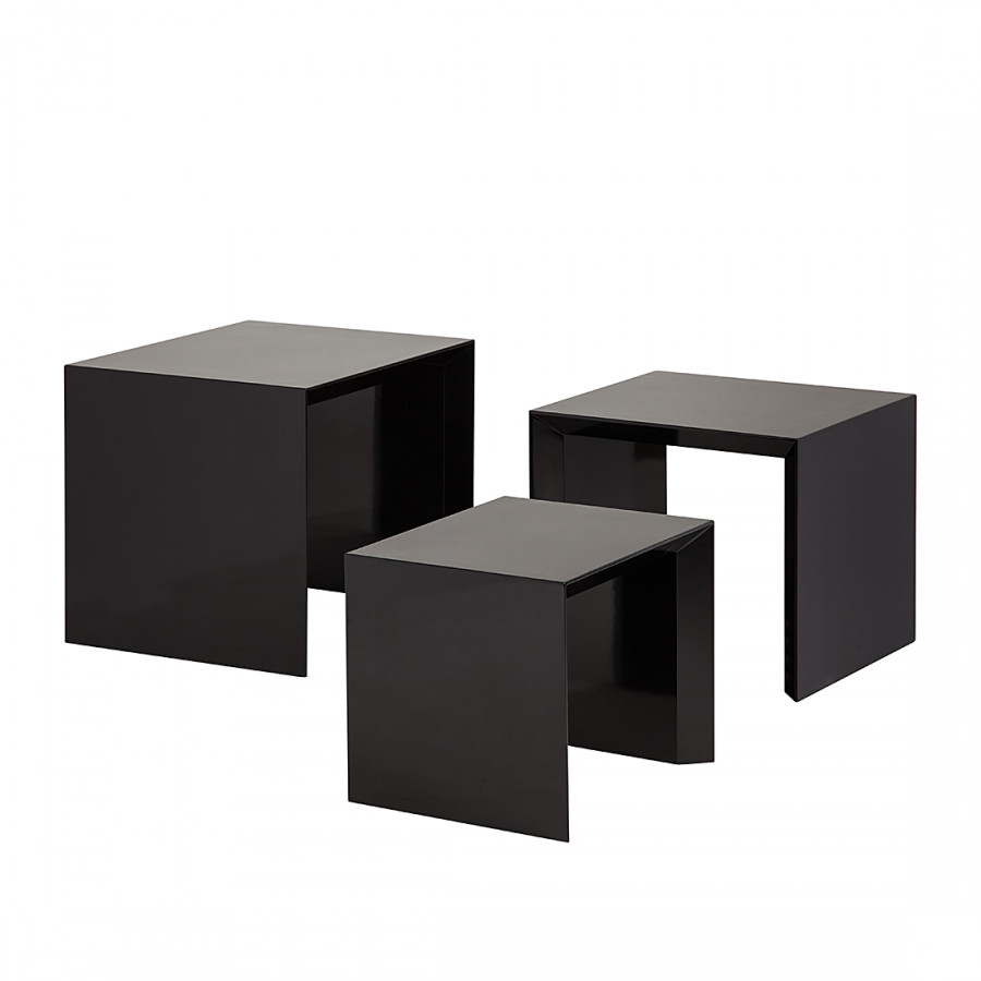 beistelltisch set three 3 teilig hochglanz schwarz home24. Black Bedroom Furniture Sets. Home Design Ideas