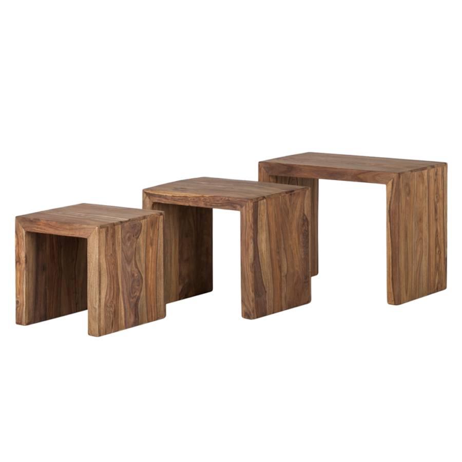 Table gigogne yoga lot de 3 sheesham massif for Tables gigognes pas cher