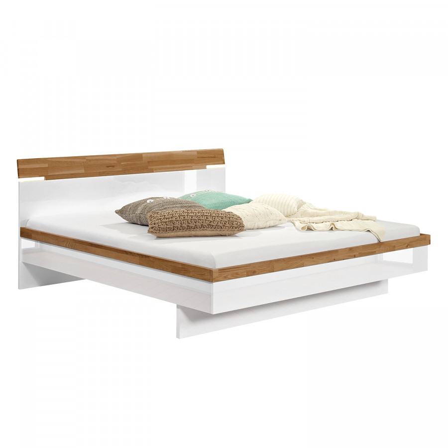 Bed Feel - hoogglans wit/eikenhout  home24.be