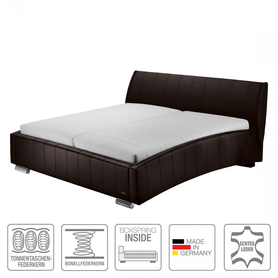boxspring inside bett sarino echtleder home24. Black Bedroom Furniture Sets. Home Design Ideas
