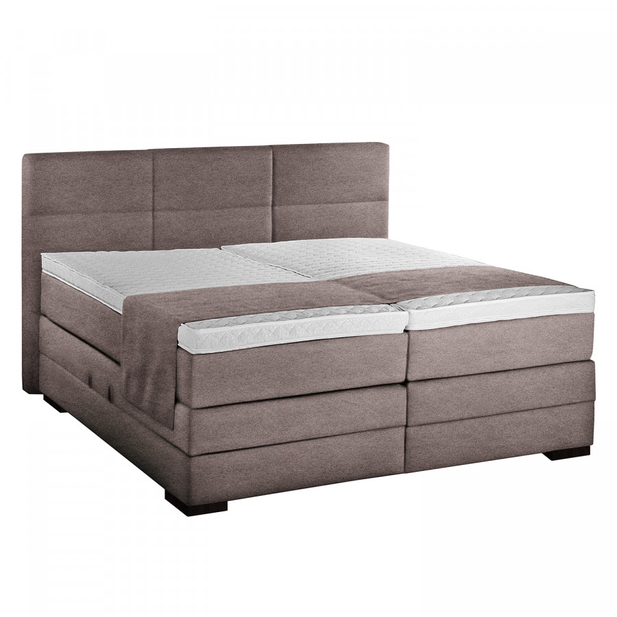 lit boxspring los christianos avec coffre de rangement et surmatelas tissu. Black Bedroom Furniture Sets. Home Design Ideas