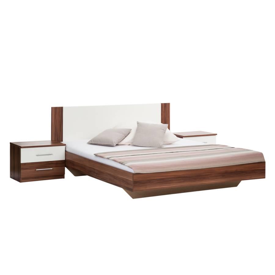 lit avec 2 tables de nuit cannes imitation noyer. Black Bedroom Furniture Sets. Home Design Ideas