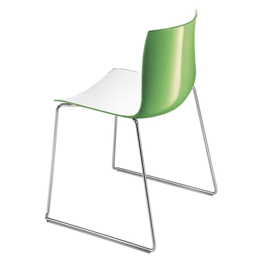 stuhl catifa 46 mit kufen polypropylen wei gr n home24. Black Bedroom Furniture Sets. Home Design Ideas