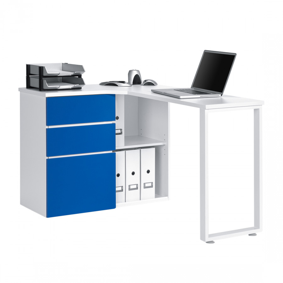 computer eckschreibtisch filipo alpin wei blau home24. Black Bedroom Furniture Sets. Home Design Ideas