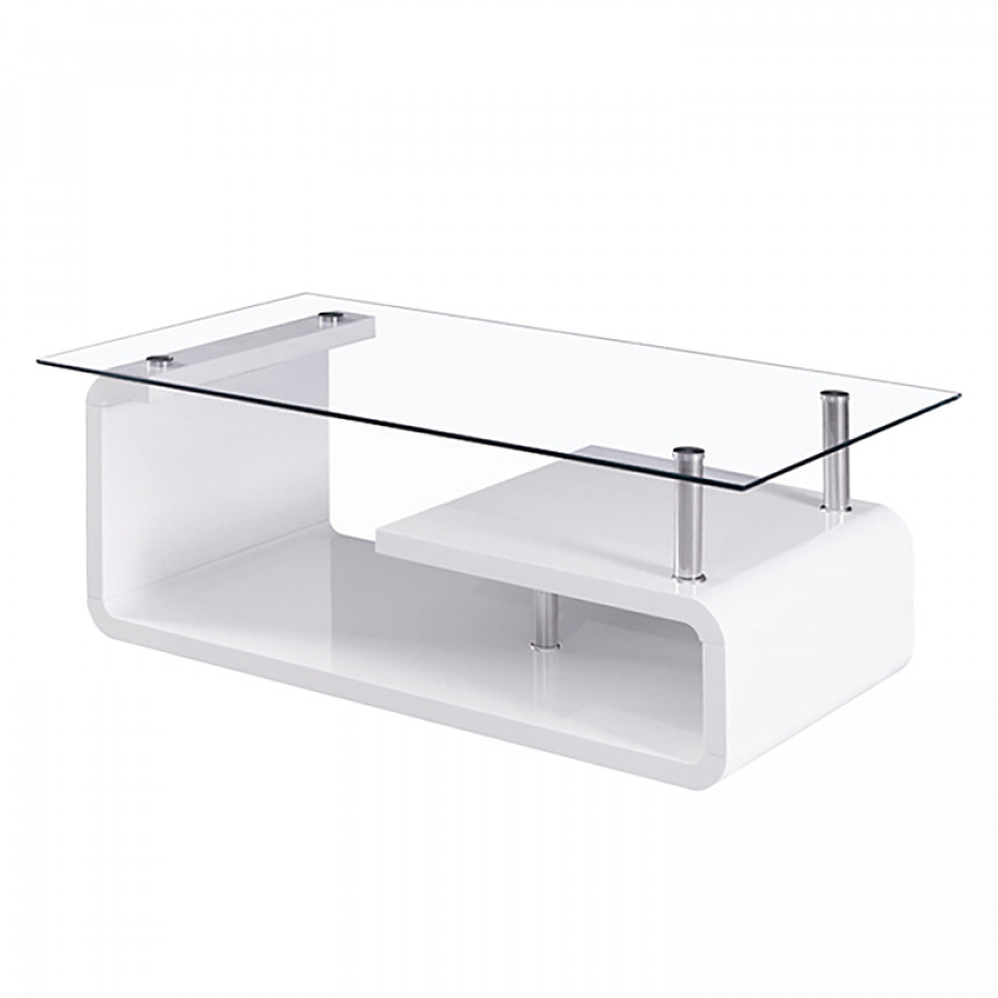 Table basse cassy verre blanc brillant - Table basse blanc brillant ...