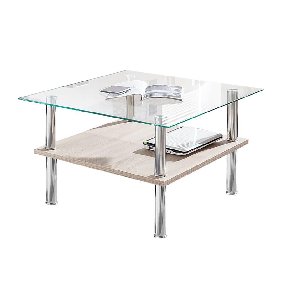 Table basse rodrigo imitation ch ne de sonoma clair verre - Table basse chene verre ...