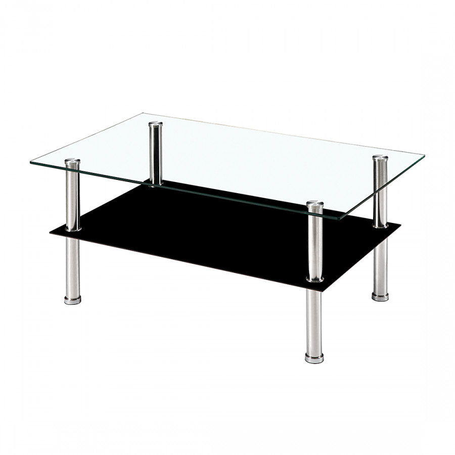 Table basse winton verre transparent verre noir - Table basse noir verre ...