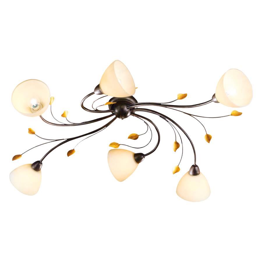 deckenleuchte canasta 6 flammig braun metall glas home24. Black Bedroom Furniture Sets. Home Design Ideas