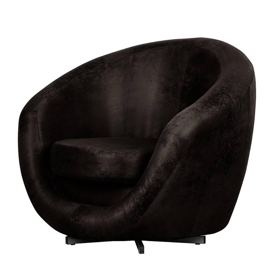 Fauteuil pivotant marvin aspect vieux cuir noir - Fauteuil cuir pivotant ...