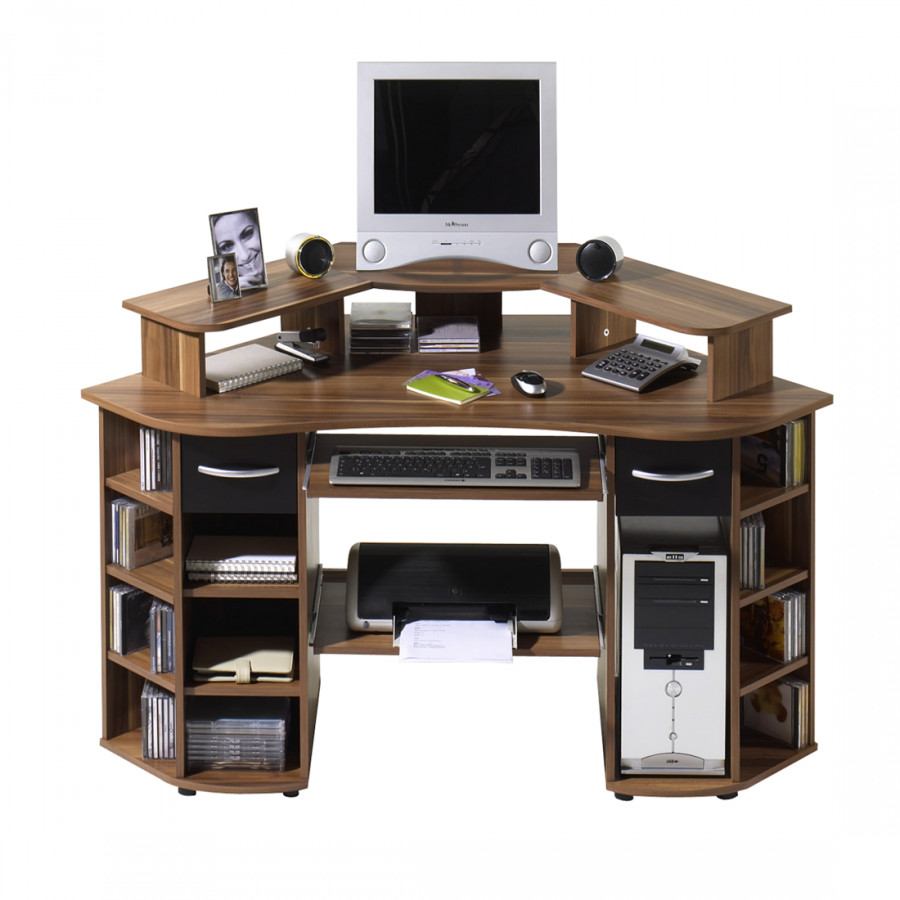 Bureau d 39 ordinateur en coin dylan noyer noir for Bureau en coin