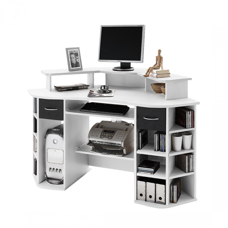 Bureau d 39 ordinateur en coin dylan blanc for Bureau en coin
