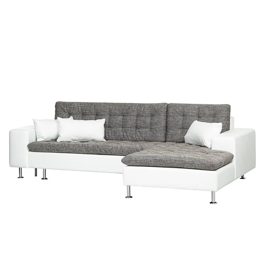ecksofa blissi mit schlaffunktion kunstleder stoff wei grau. Black Bedroom Furniture Sets. Home Design Ideas