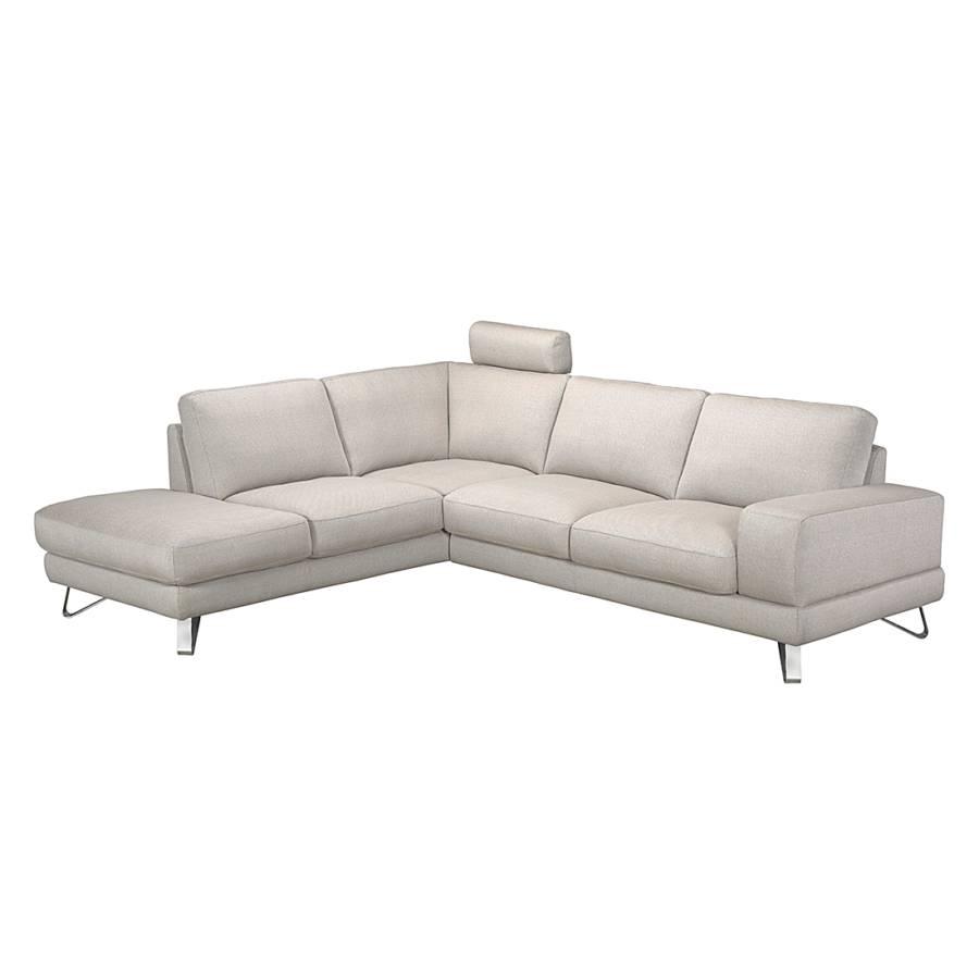 canap d 39 angle bradley tissu structur beige m ridienne gauche vue de face. Black Bedroom Furniture Sets. Home Design Ideas