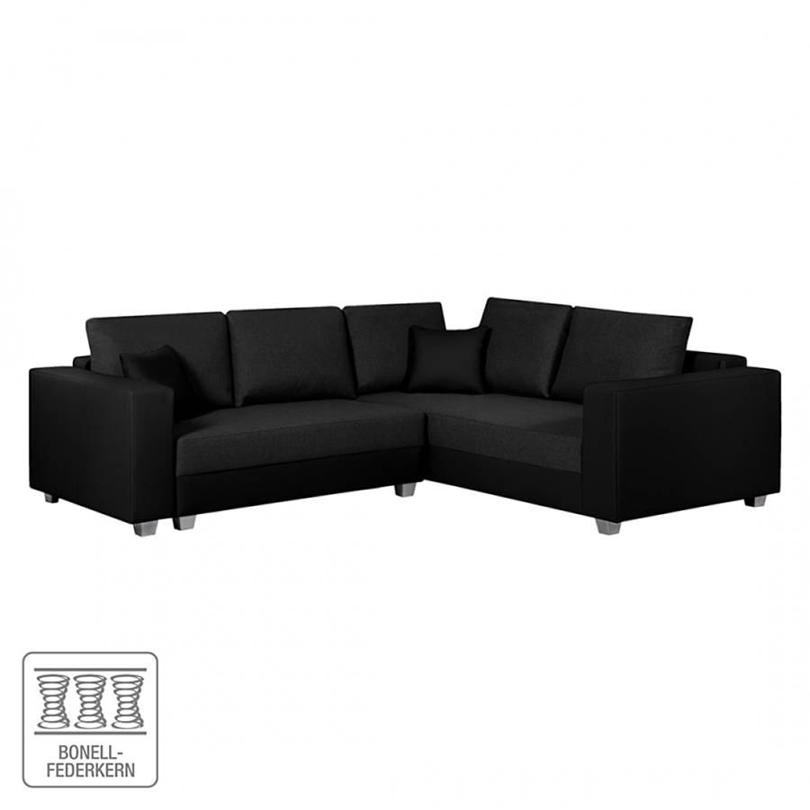 ecksofa dublin mit schlaffunktion kunstleder schwarz. Black Bedroom Furniture Sets. Home Design Ideas