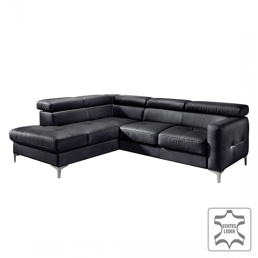 ecksofa eduardo mit schlaffunktion echtleder schwarz home24. Black Bedroom Furniture Sets. Home Design Ideas