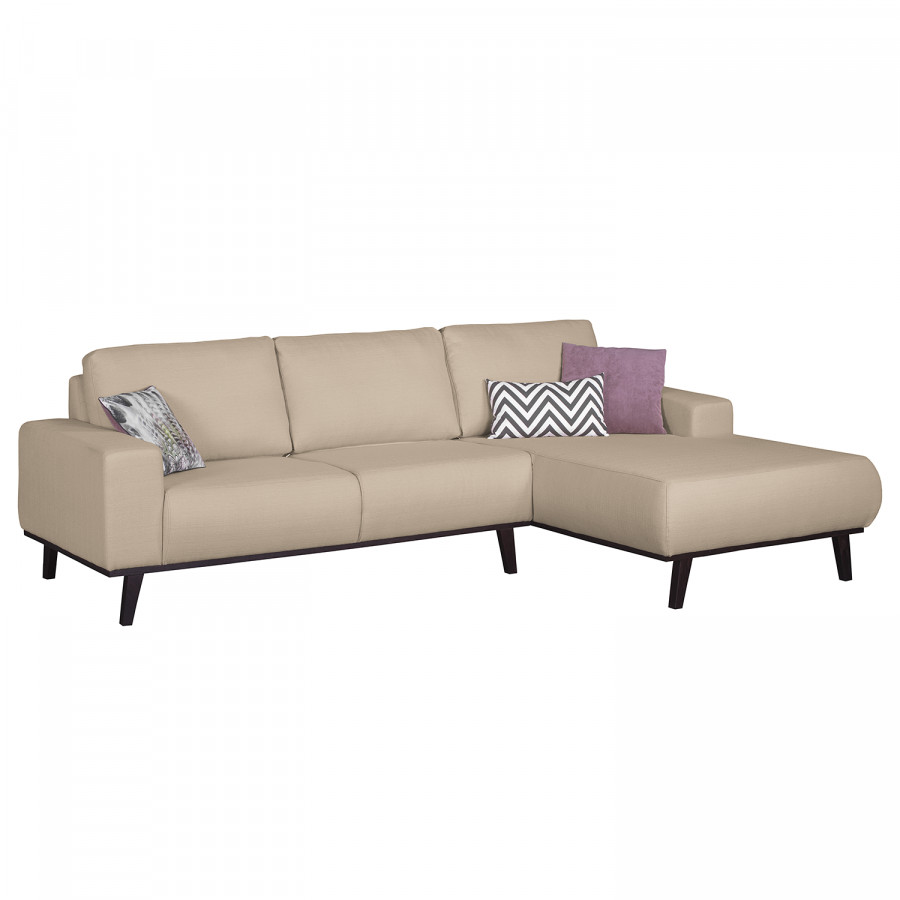 ecksofa eva ii in cappuccino mit dunklen f en ottomane rechts home24. Black Bedroom Furniture Sets. Home Design Ideas