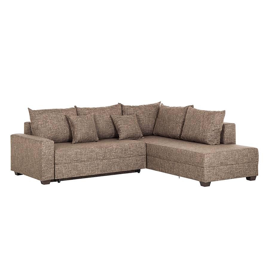 canap d 39 angle eve convertible tissu structur marron. Black Bedroom Furniture Sets. Home Design Ideas