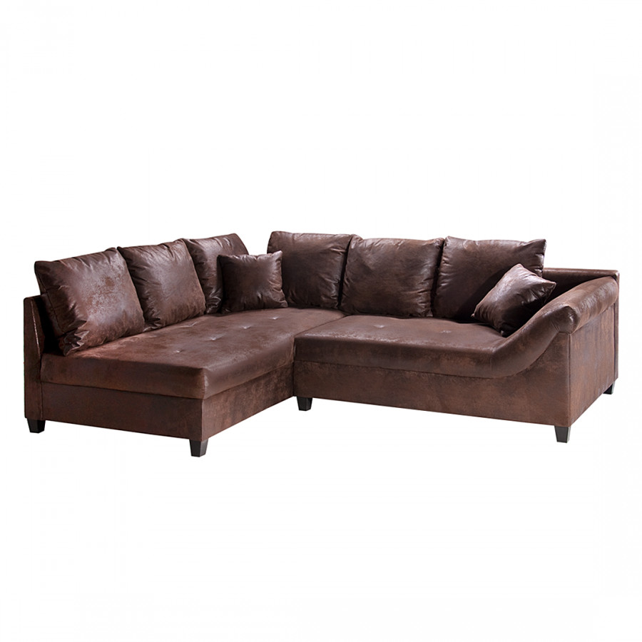Ecksofa kuba antiklederlook braun home24 for Ohrensessel naru