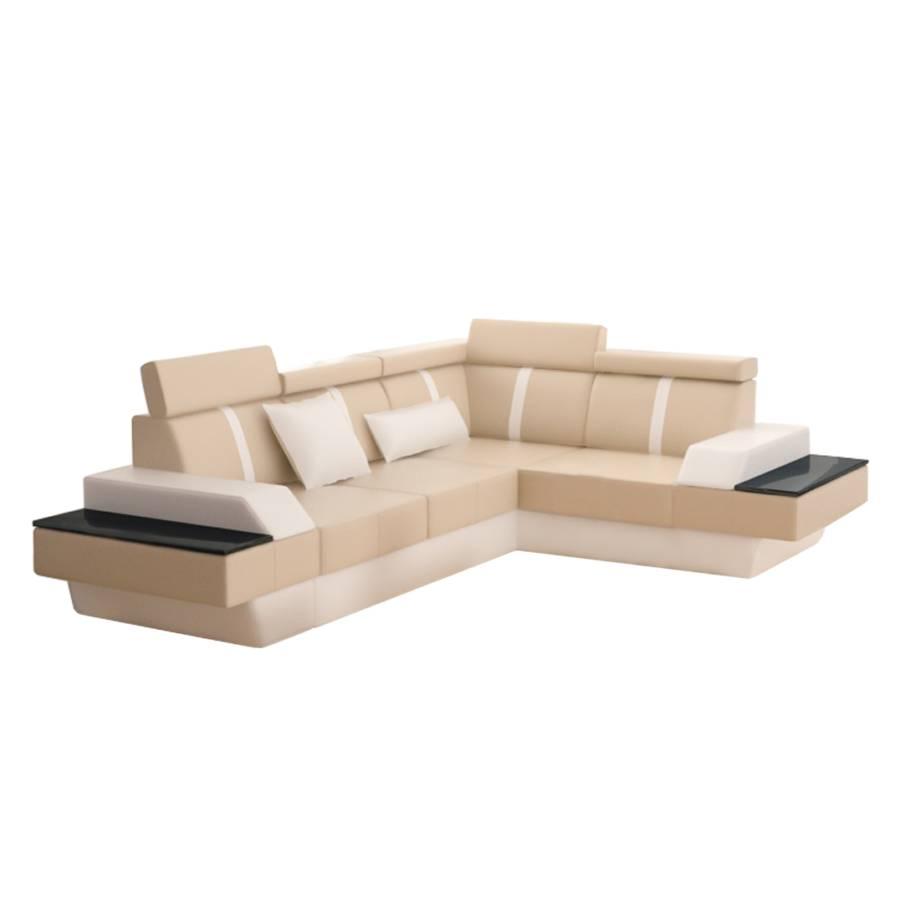 ecksofa lemansii echtleder l form beige wei home24. Black Bedroom Furniture Sets. Home Design Ideas