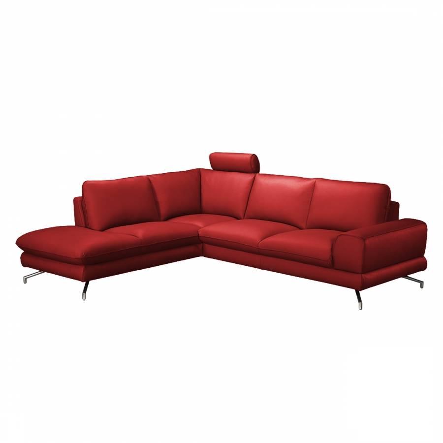 ecksofa lennard echtleder kaminrot home24. Black Bedroom Furniture Sets. Home Design Ideas
