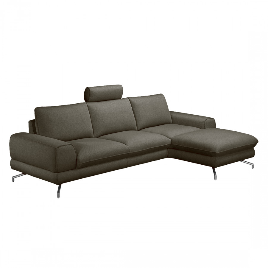 ecksofa lennard strukturstoff grau braun home24. Black Bedroom Furniture Sets. Home Design Ideas