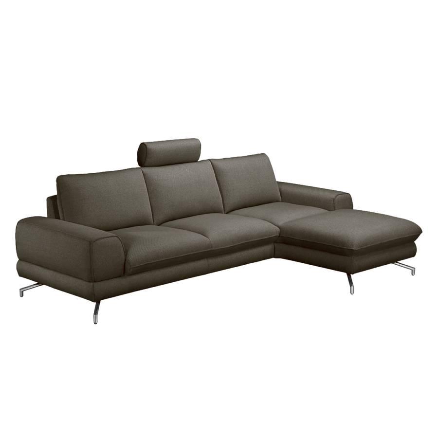 ecksofa lennard strukturstoff grau braun home24. Black Bedroom Furniture Sets. Home Design Ideas