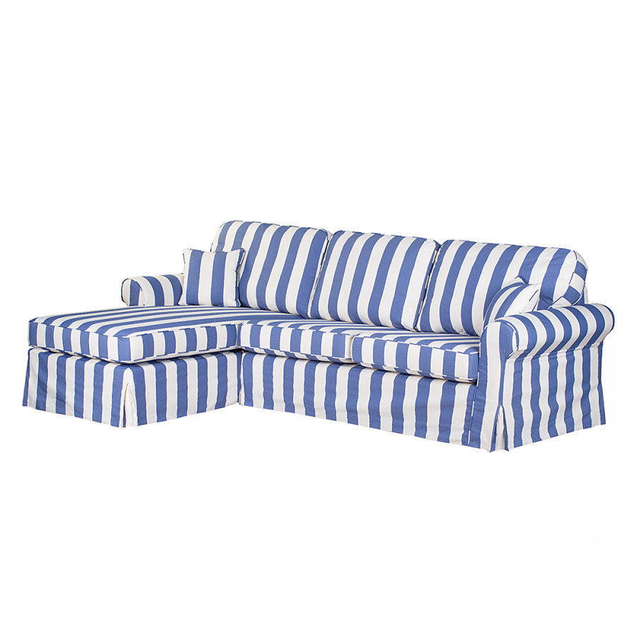 Canap d 39 angle louanne tissu bleu ray m ridienne gauche vue de face - Canape tissu rayures ...