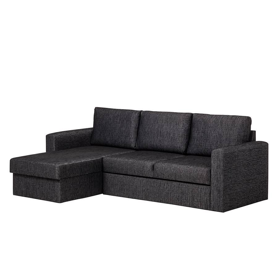 ecksofa enjoy mit schlaffunktion stoff schwarz ottomane links oder rechts montierbar. Black Bedroom Furniture Sets. Home Design Ideas
