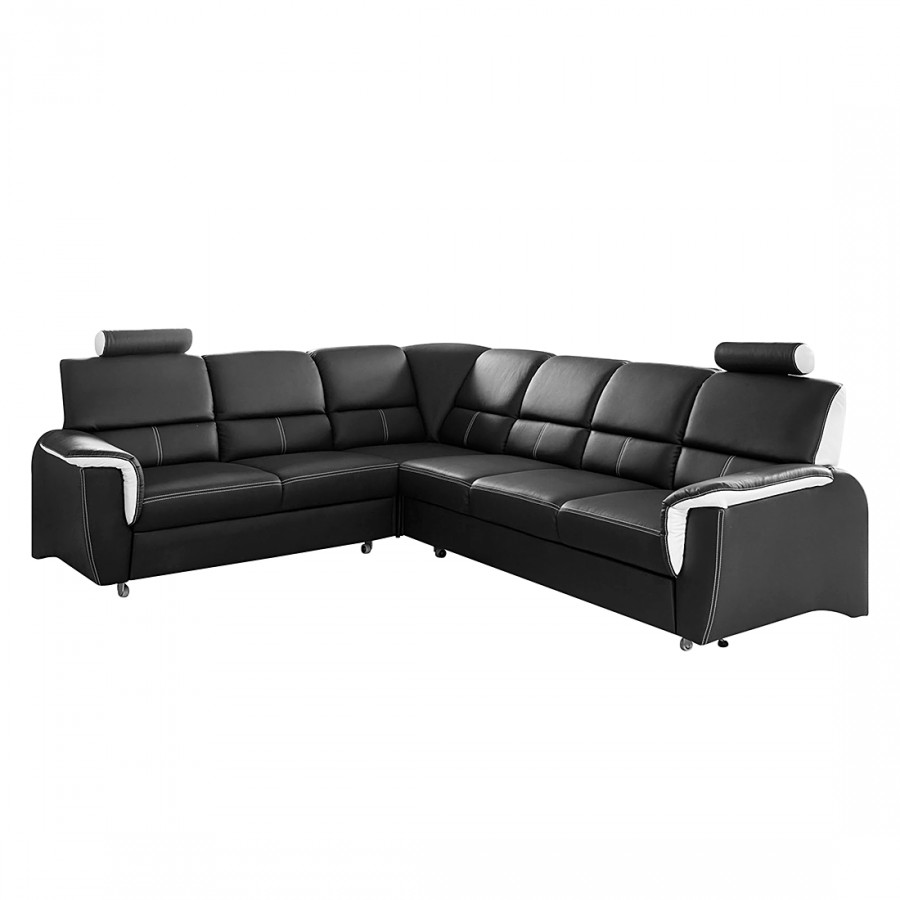 ecksofa morris mit schlaffunktion kunstleder schwarz home24. Black Bedroom Furniture Sets. Home Design Ideas