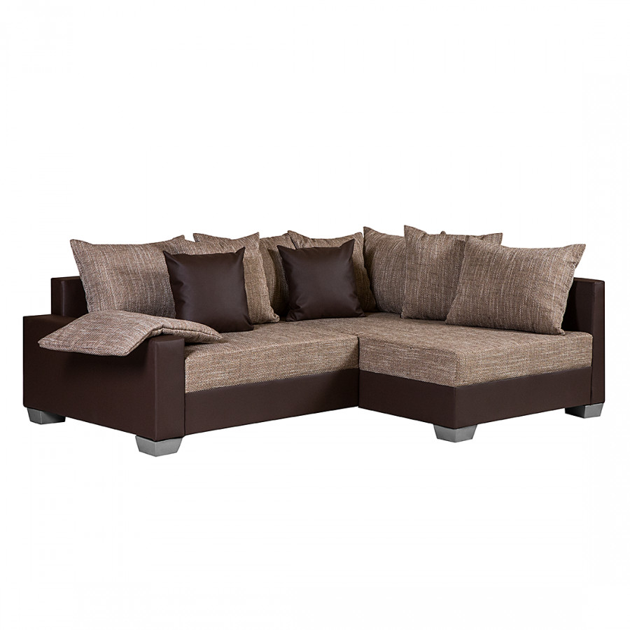 ecksofa venus kunstleder dunkel braun webstoff braun home24. Black Bedroom Furniture Sets. Home Design Ideas