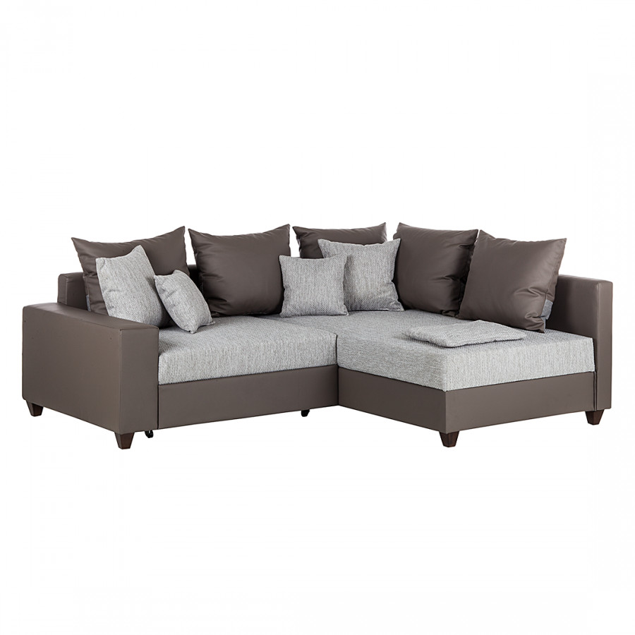 ecksofa savona mit schlaffunktion kunstleder taupe strukturstoff grau. Black Bedroom Furniture Sets. Home Design Ideas