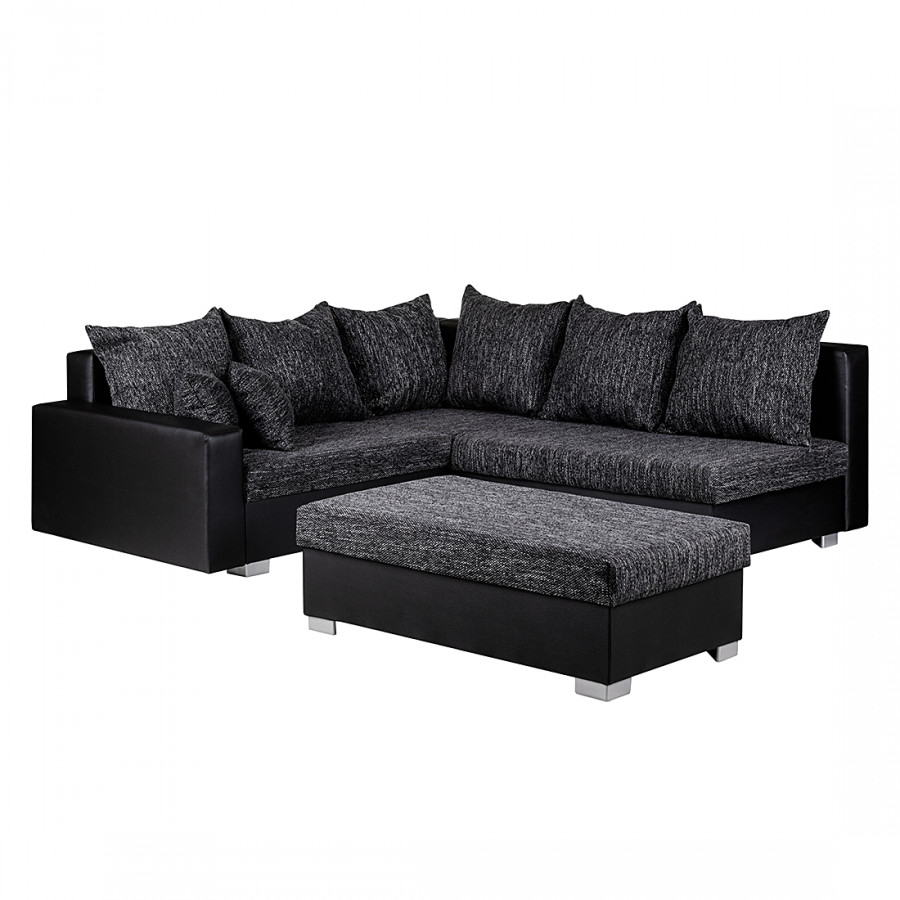 ecksofa sibenik mit hocker kunstleder schwarz strukturstoff schwarz grau home24. Black Bedroom Furniture Sets. Home Design Ideas