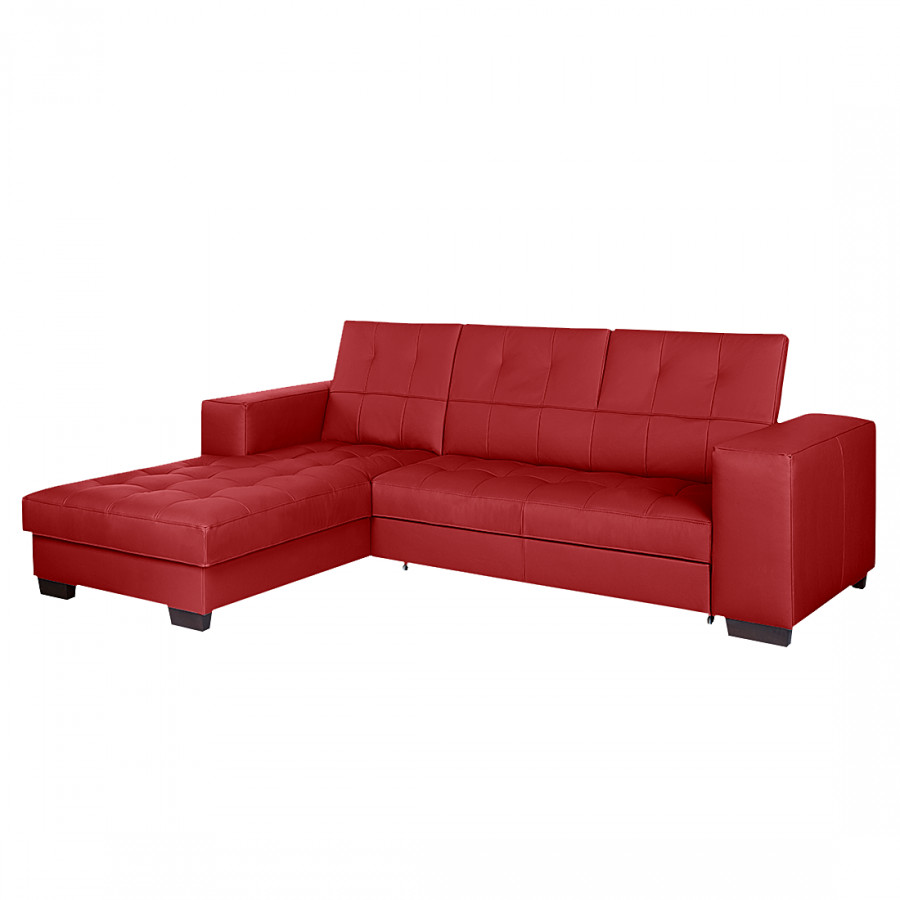 ecksofa soliera mit schlaffunktion echtleder rot longchair davorstehend links. Black Bedroom Furniture Sets. Home Design Ideas