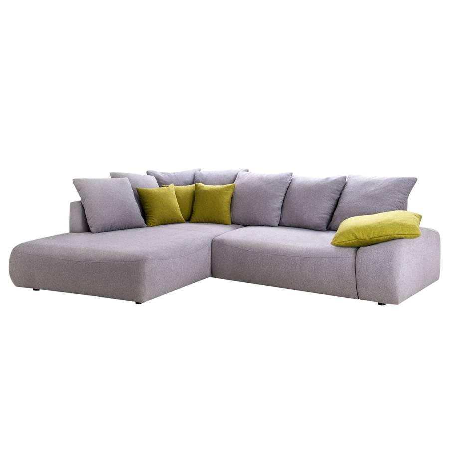 canap d 39 angle tomoka convertible microfibre gris clair m ridienne droite vue de face. Black Bedroom Furniture Sets. Home Design Ideas