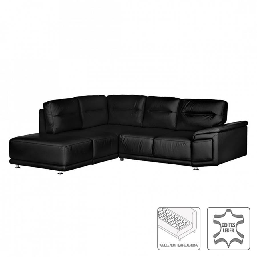 Canap d 39 angle torino convertible cuir v ritable noir for Ecksofa torino