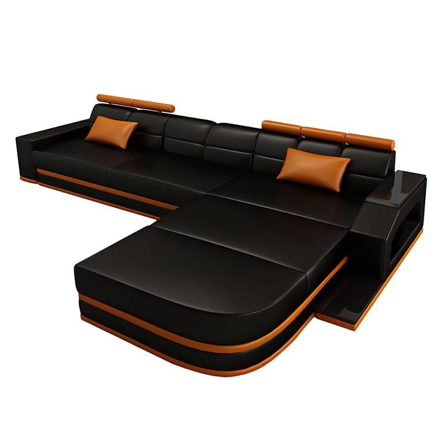 ecksofa venedig echtleder l form schwarz orange home24. Black Bedroom Furniture Sets. Home Design Ideas