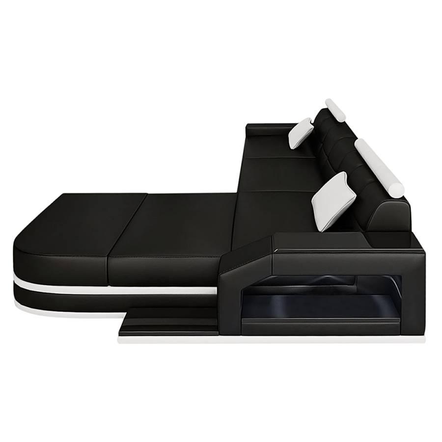 ecksofa venedig echtleder l form schwarz wei home24. Black Bedroom Furniture Sets. Home Design Ideas