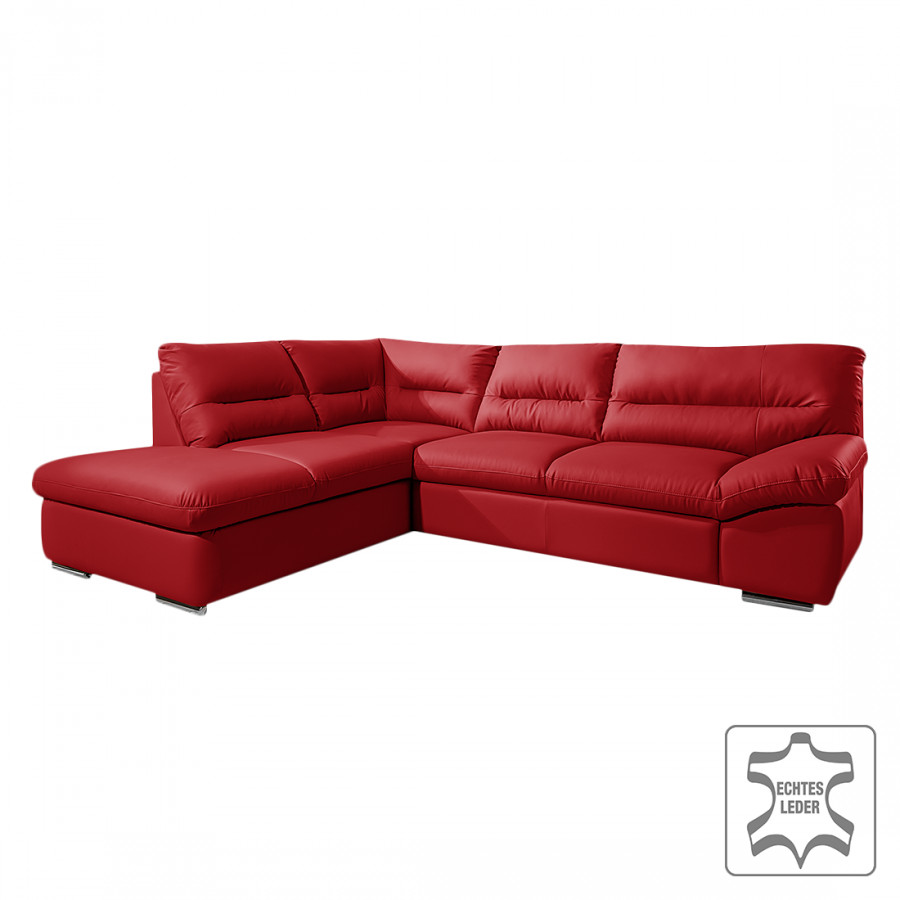 ecksofa doug mit schlaffunktion echtleder rot home24. Black Bedroom Furniture Sets. Home Design Ideas
