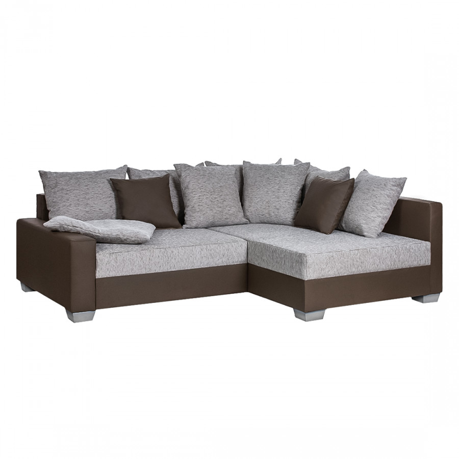 ecksofa venus kunstleder dunkel braun webstoff grau home24. Black Bedroom Furniture Sets. Home Design Ideas