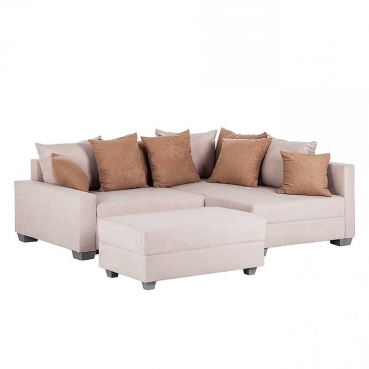 ecksofa venus microfaser beige ottomane davorstehend. Black Bedroom Furniture Sets. Home Design Ideas